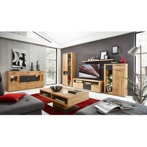Wohnzimmer Set 6tlg mit Mediawand inkl. Sideboard und Couchtisch BOZEN-36 massive Wildeiche Fronten