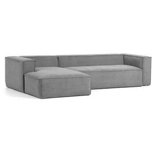 Wohnzimmercouch in Grau Cordstoff 330 cm breit