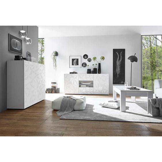 Wohnzimmereinrichtung in Hochglanz Weiß Siebdruck verziert (3-teilig)