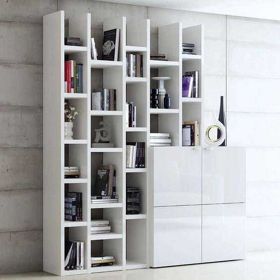 Wohnzimmermöbel in Weiß Hochglanz modern (2-teilig)