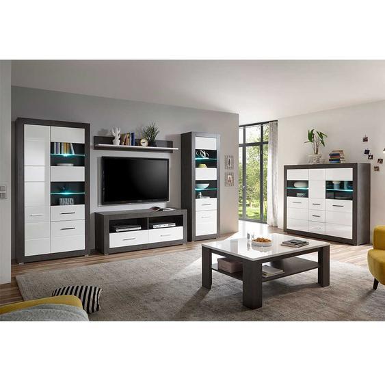 Wohnzimmermöbel in Weiß Hochglanz und Beton Grau modern (6-teilig)