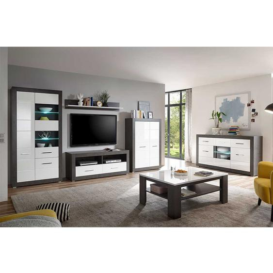 Wohnzimmermöbel Set in Weiß Hochglanz und Beton Grau modern (6-teilig)