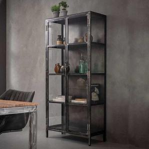 Wohnzimmerschrank in Anthrazit mit Antik Finish industry Design