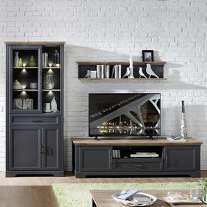 Wohnzimmerschrankwand im Landhaus Design Dunkelgrau und Eichefarben (3-teilig)