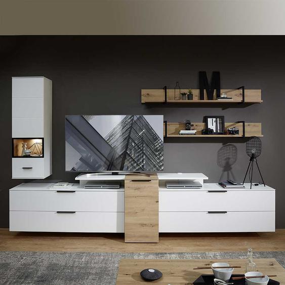Wohnzimmerschrankwand in Weiß Wildeichefarben (6-teilig)