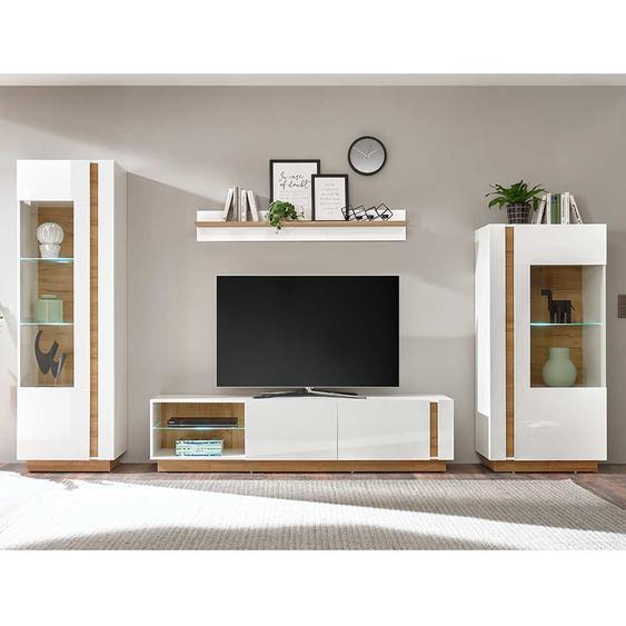 Wohnzimmerschrankwand in Weiß und Wildeiche Optik Skandi Design (vierteilig)