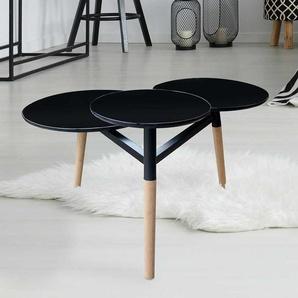 Wohnzimmertisch mit 3 runden Platten Schwarz und Bambus