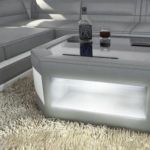 Wohnzimmertisch Prato als moderner Leder Couchtisch mit Glasplatte