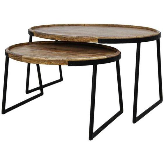 Wohnzimmertisch Set aus Mangobaum Massivholz und Eisen ovale Form (2-teilig)