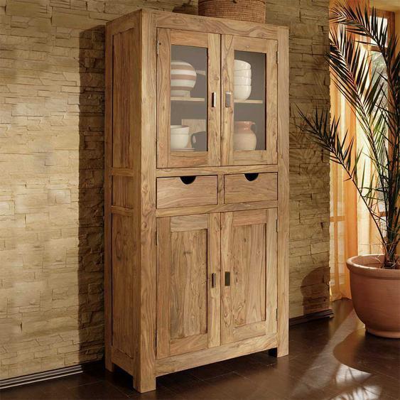 Wohnzimmervitrine aus Sheesham Massivholz Landhausstil