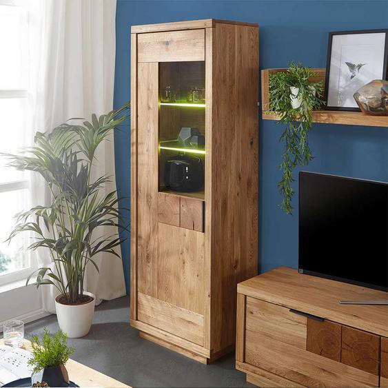 Wohnzimmervitrine aus Wildeiche Massivholz 1 türig