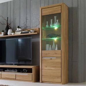 Wohnzimmervitrine aus Wildeiche Massivholz Bianco geölt
