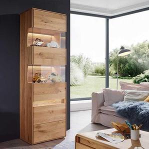Wohnzimmervitrine aus Wildeiche Massivholz LED Beleuchtung