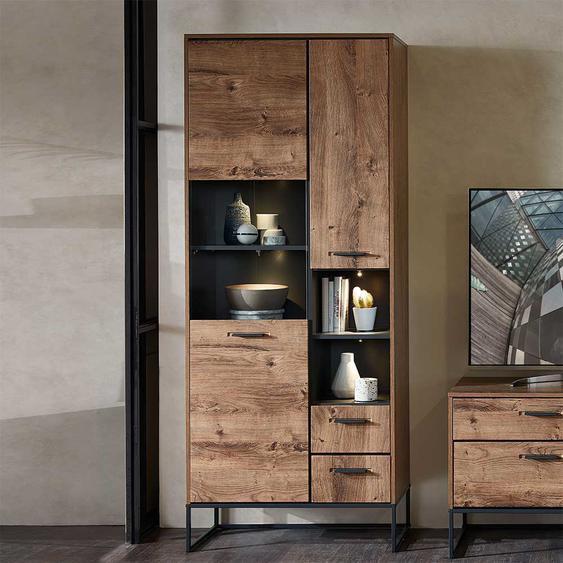 Wohnzimmervitrine in Eiche dunkel Optik Loft Design