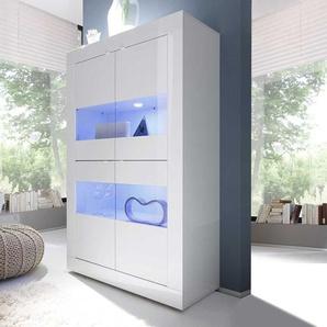 Wohnzimmervitrine in Hochglanz Weiß Wechsellicht Beleuchtung