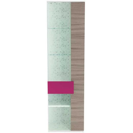 Wohnzimmervitrine in Holz Pink Dekor Glas