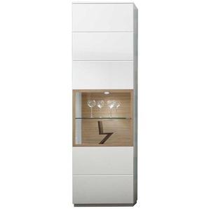 Wohnzimmervitrine in Weiß und Eiche Bianco 60 cm breit