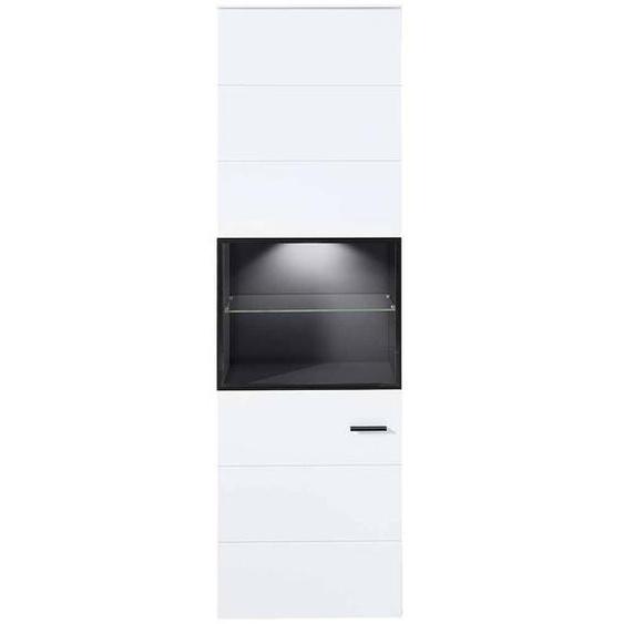 Wohnzimmervitrine in Weiß und Dunkelgrau 200 cm hoch
