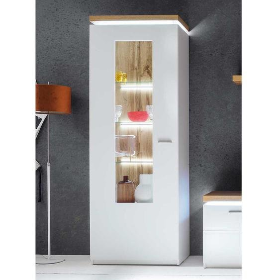 Wohnzimmervitrine in Weiß und Wildeiche Optik 70 cm breit