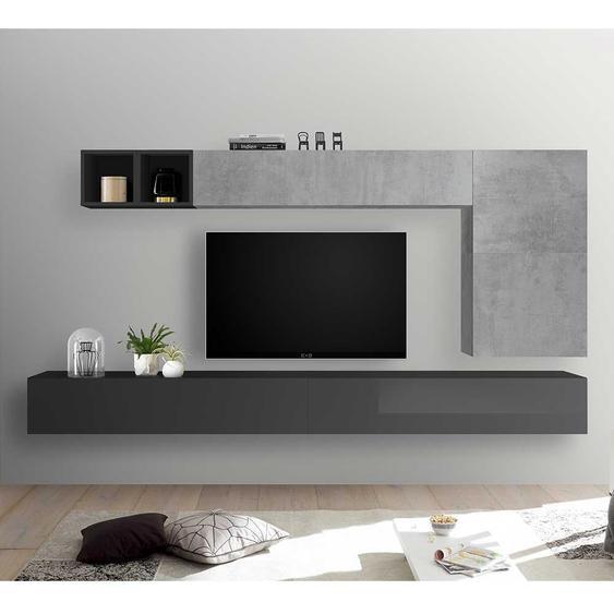 Wohnzimmerwand in Beton Grau und Anthrazit Hochglanz modern (7-teilig)