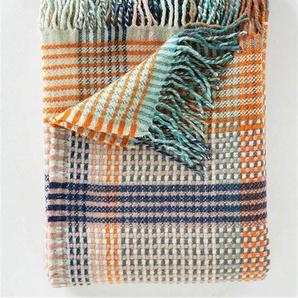 Wolldecke blau-orange-rosa kariert - bunt - 100 % Wolle - Wolldecken & Plaids