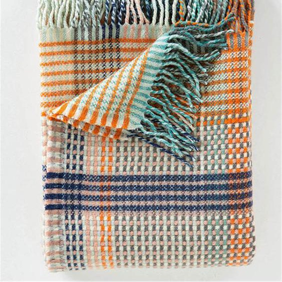 Wolldecke blau-orange-rosa kariert - bunt - 100 % Wolle - Wolldecken & Plaids