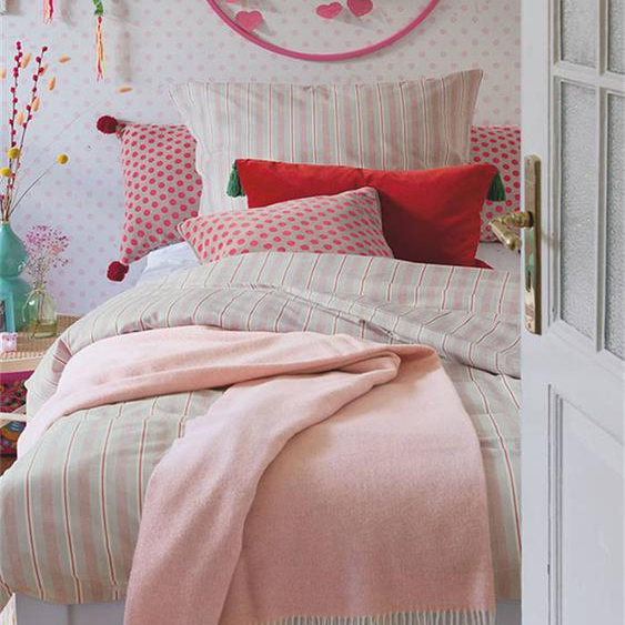 Wolldecke rosa - bunt - 90 % Merinowolle, 10 % Kaschmir - Wolldecken & Plaids