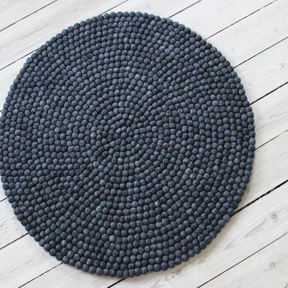 Wollteppich, Uni Color, Wooldot, rund, Höhe 23 mm, handgewebt 43 (Ø 90 cm), mm grau Kinder Bunte Kinderteppiche Teppiche