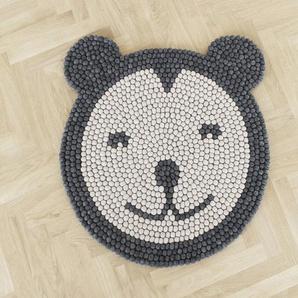 Wooldot Kinderteppich Bär, rund, 23 mm Höhe, Filzkugelteppich, 100 % Wolle, Handarbeit Ø 90 cm, 1 St. grau Kinder Kinderzimmerteppiche Teppiche nach Räumen
