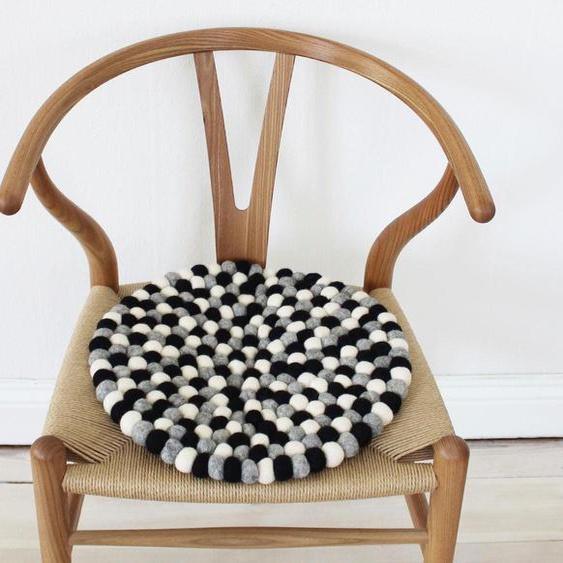 Wooldot Sitzkissen Mixed Color, rund, Filzkugel-Teppich, Wolle, auch als Set bestellbar 1, 2x 39x39 cm, Wolle weiß Stuhlkissen Kissen Kopfkissen