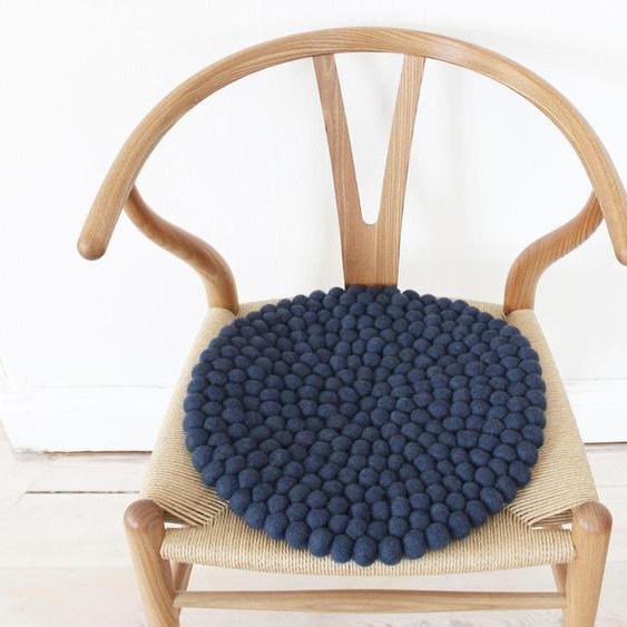 Wooldot Sitzkissen Uni Color, rund, Filzkugel-Teppich, Wolle, auch als Set bestellbar 60, 1x 39x39 cm, 2,3 cm blau Stuhlkissen Kissen Kopfkissen