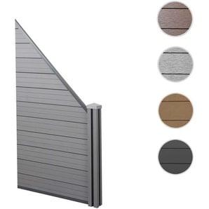 WPC-Sichtschutz Sarthe, Windschutz Zaun, WPC-Pfosten ~ Erweiterungselement schrg rechts, 0,98m grau