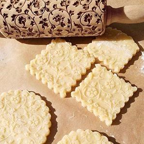 Wuayi Teigroller aus natürlichem Buchenholz mit massivem Kugellager graviert geprägt geprägt gemustert Teigrolle Küche Werkzeuge für DIY Fondant Kuchen Teig Kekse Kekse