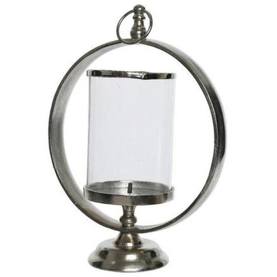 X-Mas Windlicht , Silber, Transparent , Holz, Metall , 38 cm