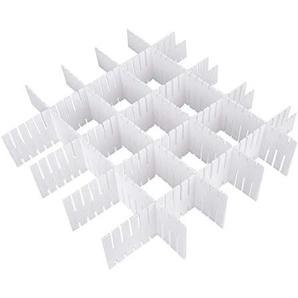 X-Mile 10 Stücke Einstellbare Grid Schubladeneinteilungen Einschließlich 8 in 34,5 × 7 cm und 2 in 21,5 × 7 cm DIY Plastikfach Organisator für Haus Tidy Closet Socken Unterwäsche Weiß