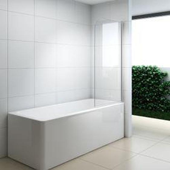 XIMAX Badewannenfaltwand Duschfixteil ESG Klarglas 6 mm Trennwand 90x140 cm