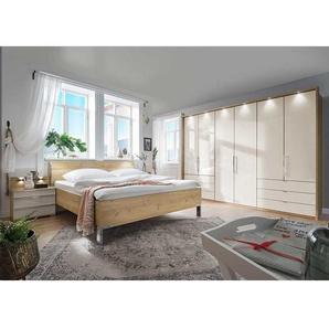 XL Schlafzimmer Set in Beige und Eiche Bianco glasbeschichtet (vierteilig)