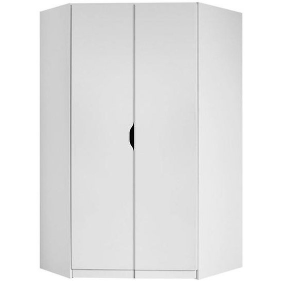 Xora Eckkleiderschrank Weiß , Holzwerkstoff , 5 Fächer , 117x197x104 cm
