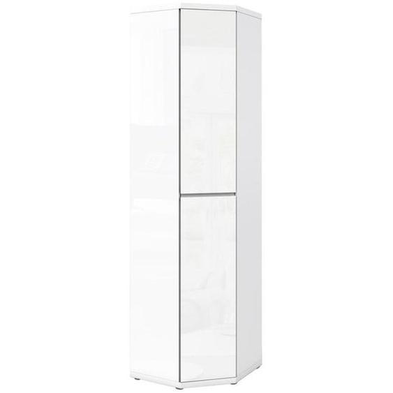 Xora Eckschrank Weiß , Holzwerkstoff , 4+1 Fächer , 56.2x211.6x56.2 cm