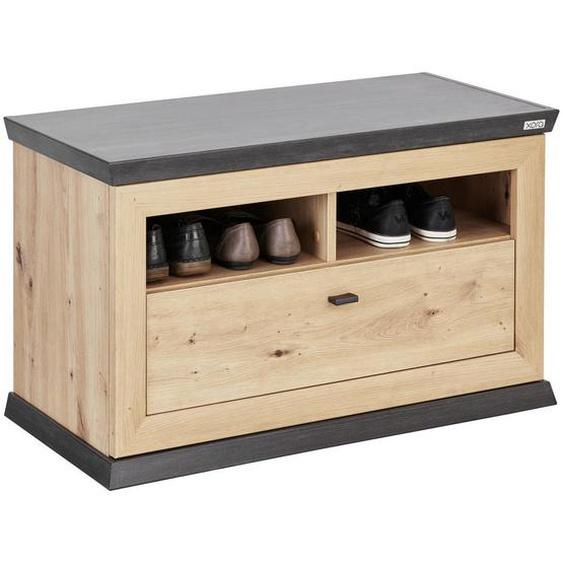 Xora Garderobenbank Braun, Grau , Eiche, Grau , Holzwerkstoff , 1-Sitzer , 1 Schubladen , 85.2x50.5x38.5 cm