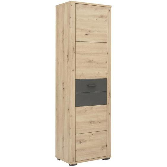 Xora Garderobenschrank Braun , Holzwerkstoff , 2 Fächer , 60x195x38 cm