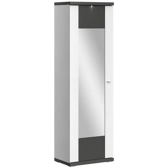 Xora Garderobenschrank Weiß , Graphit, Weiß , Holzwerkstoff , 2 Fächer , 65x207x42 cm
