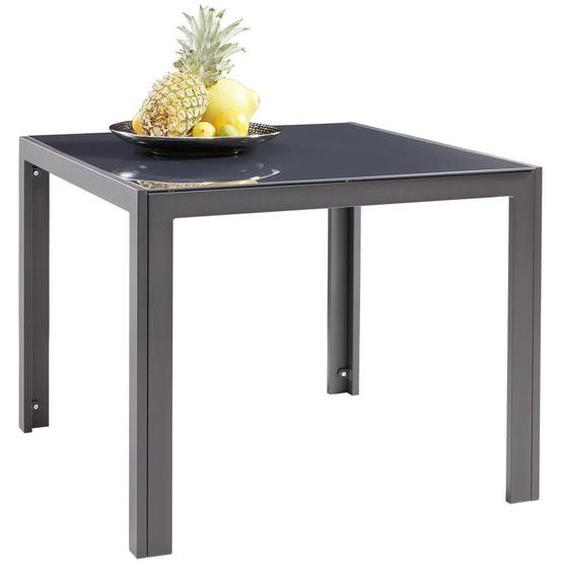 Xora Gartentisch Metall, Glas Grau , 90x72 cm