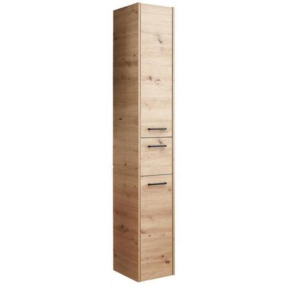 Xora Hochschrank Braun , Glas , Nachbildung , 3 Fächer , 1 Schubladen , 30x185.50x32.5 cm