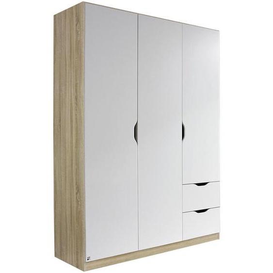 Xora Kleiderschrank , Weiß, Braun , Holzwerkstoff , 3 Fächer , 2 Schubladen , 136x197x54 cm