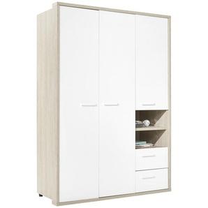 Xora: Kleiderschrank, Holzwerkstoff, Eiche, Weiß, B/H/T 152,6 216,6 63,4