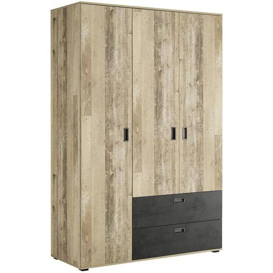 Xora Kleiderschrank , Grau, Braun , Holzwerkstoff , 5 Fächer , 2 Schubladen , 136x209x59 cm