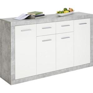 Xora: Kommode, Holzwerkstoff, Grau, Weiß, B/H/T 152 88 37