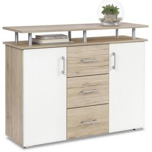 Carryhome: Kommode, Holzwerkstoff, Eiche, Weiß, B/H/T 116 90 38