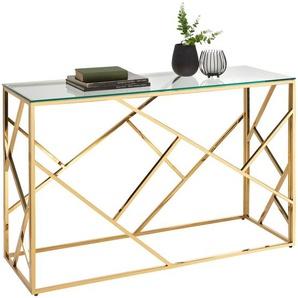 Xora Konsolentisch , Gold , Metall, Glas , rechteckig , eckig , 40x78 cm , Wohnzimmer, Wohnzimmertische, Konsolentische